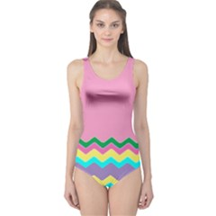Easter Chevron Pattern Stripes One Piece Swimsuit by Amaryn4rt