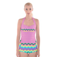 Easter Chevron Pattern Stripes Boyleg Halter Swimsuit  by Amaryn4rt