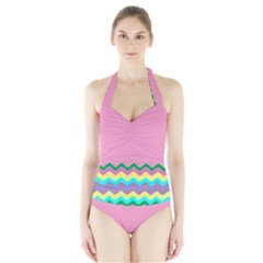 Easter Chevron Pattern Stripes Halter Swimsuit by Amaryn4rt