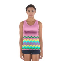 Easter Chevron Pattern Stripes Women s Sport Tank Top  by Amaryn4rt