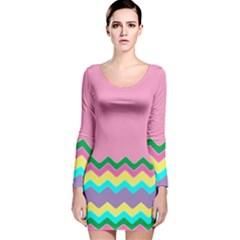 Easter Chevron Pattern Stripes Long Sleeve Velvet Bodycon Dress by Amaryn4rt