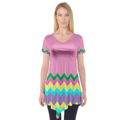 Easter Chevron Pattern Stripes Short Sleeve Tunic  by Amaryn4rt