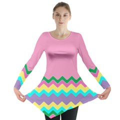 Easter Chevron Pattern Stripes Long Sleeve Tunic  by Amaryn4rt