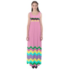 Easter Chevron Pattern Stripes Empire Waist Maxi Dress by Amaryn4rt