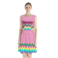 Easter Chevron Pattern Stripes Sleeveless Chiffon Waist Tie Dress by Amaryn4rt