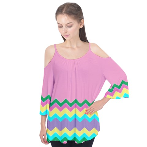Easter Chevron Pattern Stripes Flutter Tees by Amaryn4rt