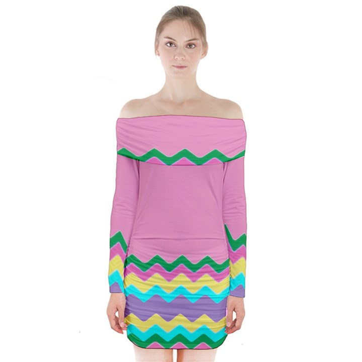 Easter Chevron Pattern Stripes Long Sleeve Off Shoulder Dress