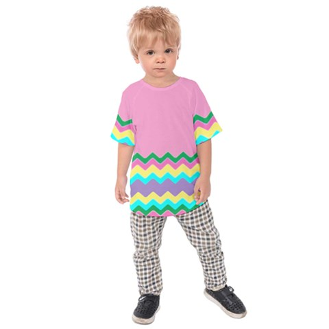 Easter Chevron Pattern Stripes Kids  Raglan Tee by Amaryn4rt