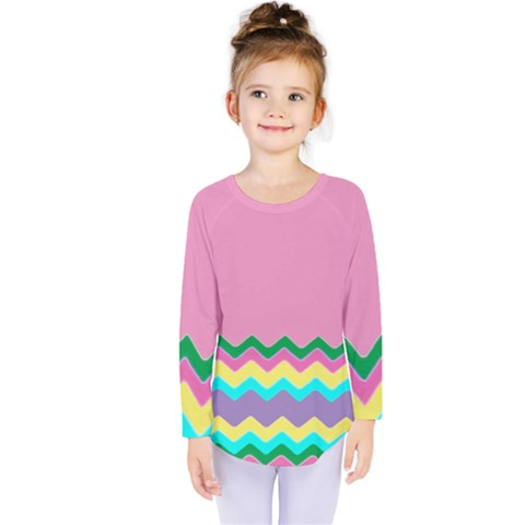 Easter Chevron Pattern Stripes Kids  Long Sleeve Tee by Amaryn4rt