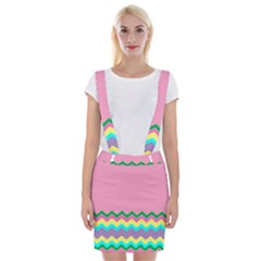 Easter Chevron Pattern Stripes Suspender Skirt