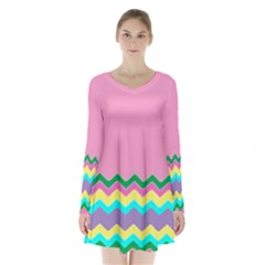 Easter Chevron Pattern Stripes Long Sleeve Velvet V Neck Dress by Amaryn4rt