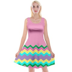 Easter Chevron Pattern Stripes Reversible Velvet Sleeveless Dress by Amaryn4rt