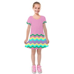 Easter Chevron Pattern Stripes Kids  Short Sleeve Velvet Dress by Amaryn4rt