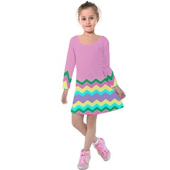 Easter Chevron Pattern Stripes Kids  Long Sleeve Velvet Dress by Amaryn4rt