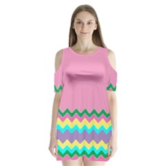 Easter Chevron Pattern Stripes Shoulder Cutout Velvet  One Piece by Amaryn4rt