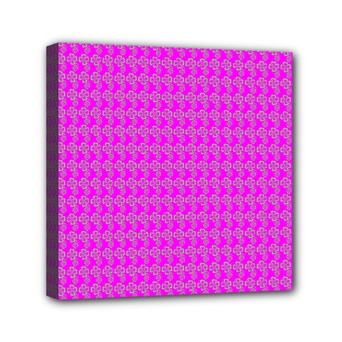 Clovers On Pink Mini Canvas 6  X 6  by PhotoNOLA