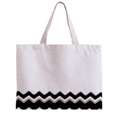 Chevrons Black Pattern Background Zipper Mini Tote Bag by Amaryn4rt