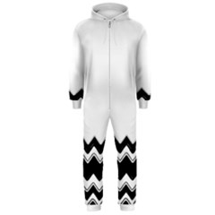 Chevrons Black Pattern Background Hooded Jumpsuit (men)  by Amaryn4rt