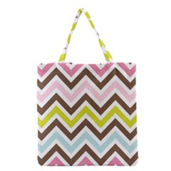 Chevrons Stripes Colors Background Grocery Tote Bag by Amaryn4rt