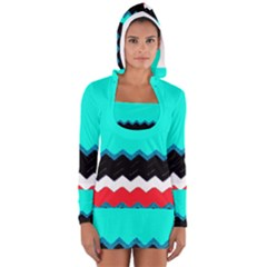 Pattern Digital Painting Lines Art Women s Long Sleeve Hooded T Shirt by Amaryn4rt