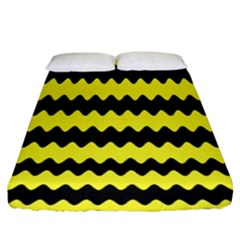 Yellow Black Chevron Wave Fitted Sheet (king Size) by Amaryn4rt