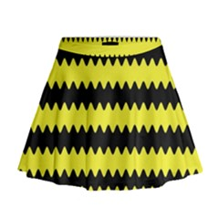 Yellow Black Chevron Wave Mini Flare Skirt