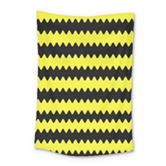 Yellow Black Chevron Wave Small Tapestry by Amaryn4rt