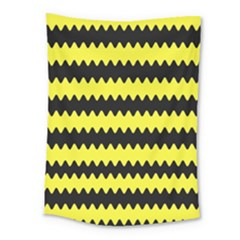 Yellow Black Chevron Wave Medium Tapestry by Amaryn4rt