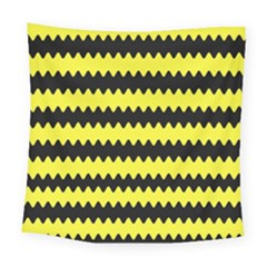 Yellow Black Chevron Wave Square Tapestry (large)