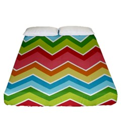 Colorful Background Of Chevrons Zigzag Pattern Fitted Sheet (queen Size) by Amaryn4rt
