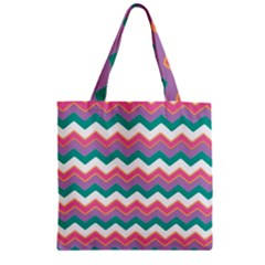 Chevron Pattern Colorful Art Zipper Grocery Tote Bag by Amaryn4rt