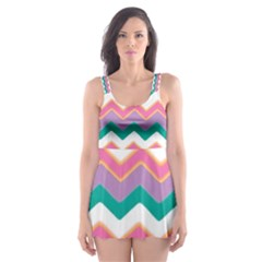Chevron Pattern Colorful Art Skater Dress Swimsuit
