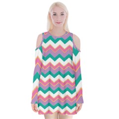 Chevron Pattern Colorful Art Velvet Long Sleeve Shoulder Cutout Dress by Amaryn4rt