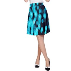 Bokeh Background In Blue Color A-line Skirt