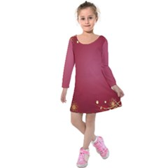 Red Background With A Pattern Kids  Long Sleeve Velvet Dress by Amaryn4rt