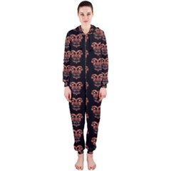 Dark Conversational Pattern Hooded Jumpsuit (ladies)  by dflcprintsclothing