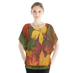 Colorful Autumn Leaves Leaf Background Blouse by Amaryn4rt