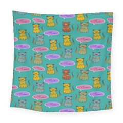 Meow Cat Pattern Square Tapestry (large) by Amaryn4rt