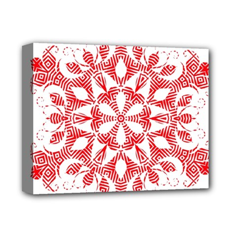 Red Pattern Filigree Snowflake On White Deluxe Canvas 14  X 11  by Amaryn4rt