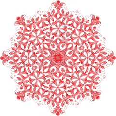 Red Pattern Filigree Snowflake On White Hook Handle Umbrellas (large) by Amaryn4rt