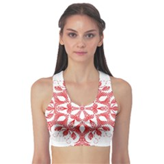 Red Pattern Filigree Snowflake On White Sports Bra by Amaryn4rt