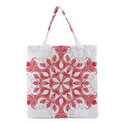 Red Pattern Filigree Snowflake On White Grocery Tote Bag by Amaryn4rt