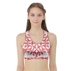 Red Pattern Filigree Snowflake On White Sports Bra With Border by Amaryn4rt