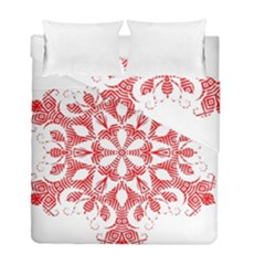 Red Pattern Filigree Snowflake On White Duvet Cover Double Side (full/ Double Size) by Amaryn4rt