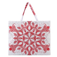 Red Pattern Filigree Snowflake On White Zipper Large Tote Bag by Amaryn4rt