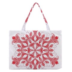 Red Pattern Filigree Snowflake On White Medium Zipper Tote Bag by Amaryn4rt