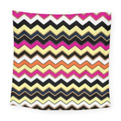 Colorful Chevron Pattern Stripes Square Tapestry (large)