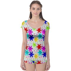 Snowflake Pattern Repeated Boyleg Leotard  by Amaryn4rt