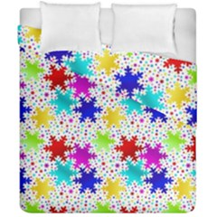 Snowflake Pattern Repeated Duvet Cover Double Side (california King Size) by Amaryn4rt