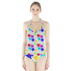 Snowflake Pattern Repeated Halter Swimsuit